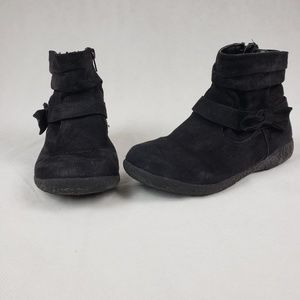 Girls Size 2 Black Ankle Boots With Bow